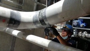 DuraWrap Applied to Leading Pipes